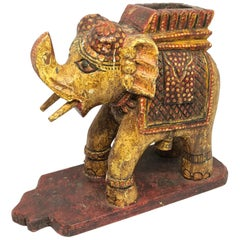 Hand-Crafted India Carved Wood Elephant, circa Mid-20th Century