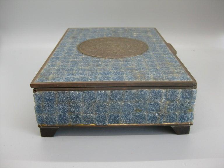 Handcrafted Mexico Brass Stone Aztec Calendar Desk Stash Trinket Cigarette Box For Sale 6