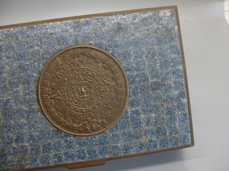 Handcrafted Mexico Brass Stone Aztec Calendar Desk Stash Trinket Cigarette Box For Sale 7