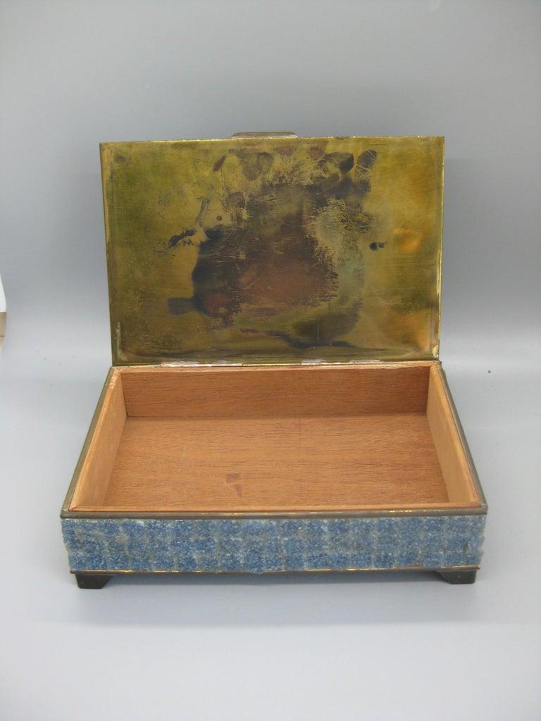 Handcrafted Mexico Brass Stone Aztec Calendar Desk Stash Trinket Cigarette Box For Sale 8