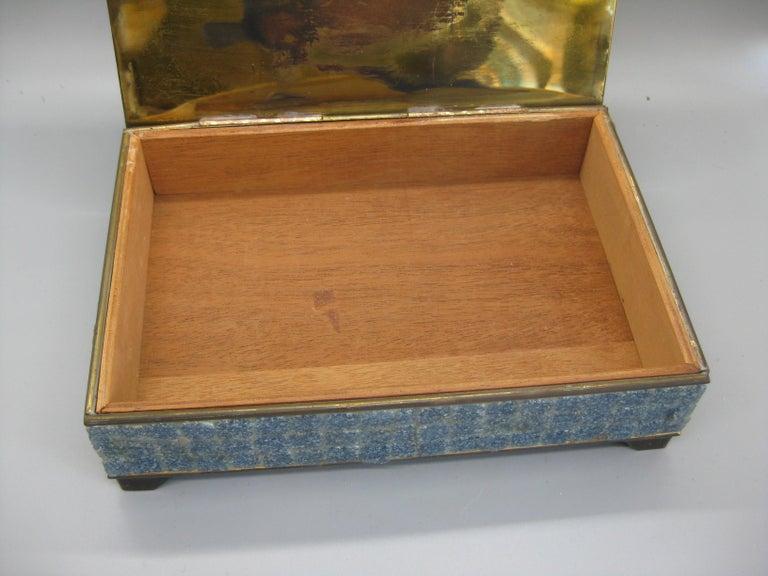 Handcrafted Mexico Brass Stone Aztec Calendar Desk Stash Trinket Cigarette Box For Sale 9