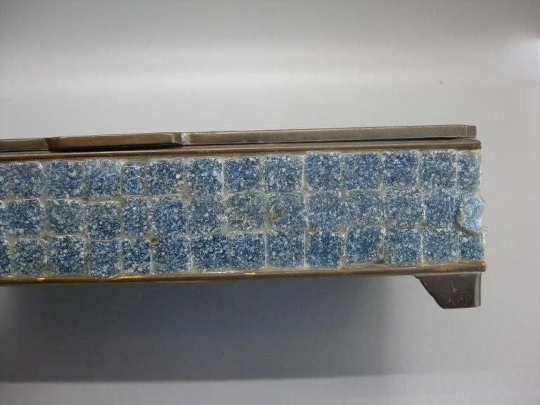 Handcrafted Mexico Brass Stone Aztec Calendar Desk Stash Trinket Cigarette Box For Sale 10