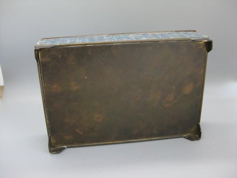 Handcrafted Mexico Brass Stone Aztec Calendar Desk Stash Trinket Cigarette Box For Sale 11