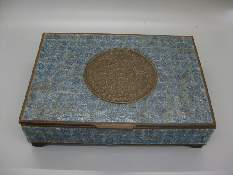 Handcrafted Mexico Brass Stone Aztec Calendar Desk Stash Trinket Cigarette Box In Good Condition For Sale In San Diego, CA