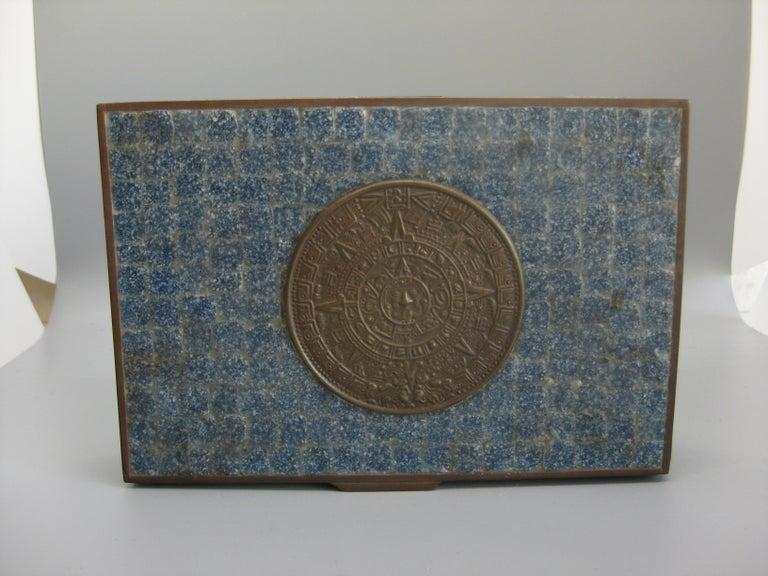 20th Century Handcrafted Mexico Brass Stone Aztec Calendar Desk Stash Trinket Cigarette Box For Sale