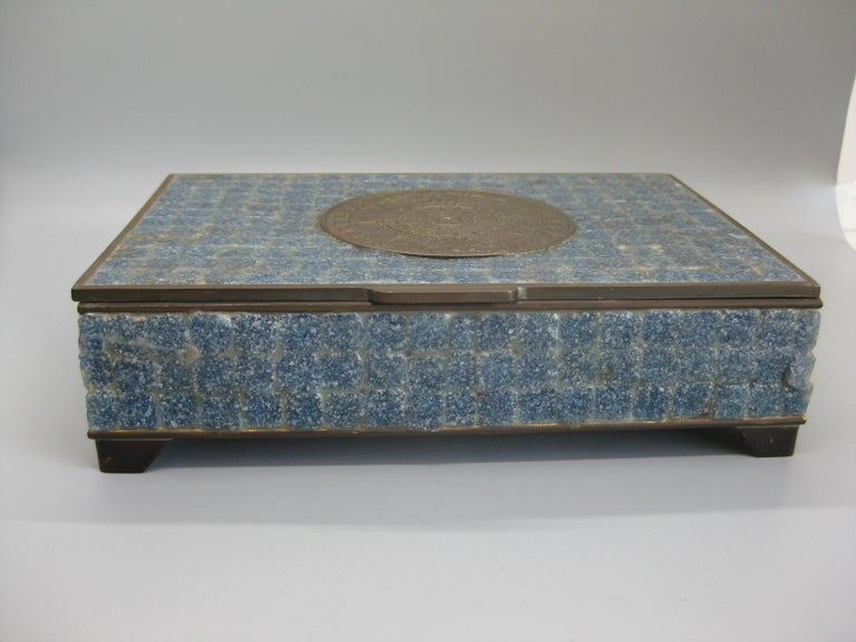 Handcrafted Mexico Brass Stone Aztec Calendar Desk Stash Trinket Cigarette Box For Sale 2