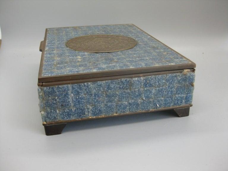 Handcrafted Mexico Brass Stone Aztec Calendar Desk Stash Trinket Cigarette Box For Sale 3