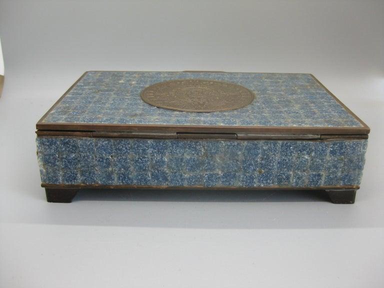 Handcrafted Mexico Brass Stone Aztec Calendar Desk Stash Trinket Cigarette Box For Sale 4