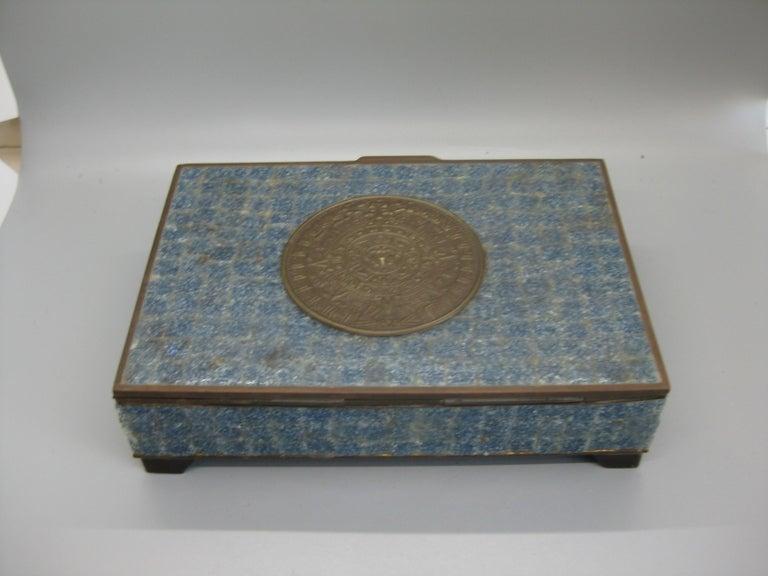 Handcrafted Mexico Brass Stone Aztec Calendar Desk Stash Trinket Cigarette Box For Sale 5