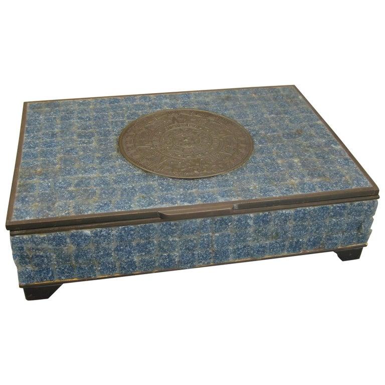Handcrafted Mexico Brass Stone Aztec Calendar Desk Stash Trinket Cigarette Box For Sale