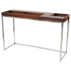 Handcrafted, Modern American Walnut Console with 5 Reversible Trays