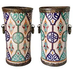 Handcrafted Moorish Ceramic Urns with Handles
