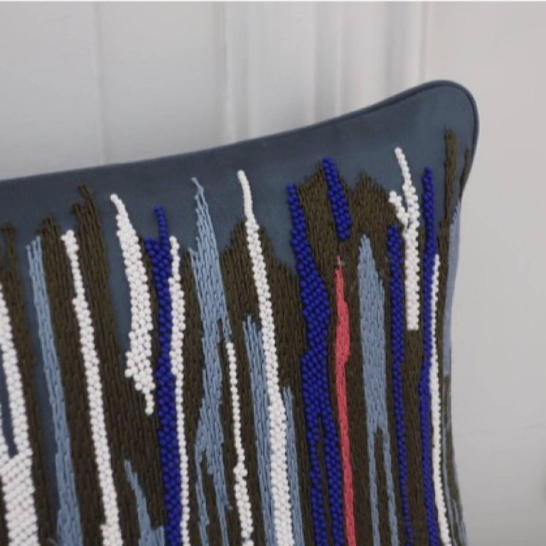 Handcrafted Multicolored Hand Embroidered Striped Pillow In New Condition For Sale In London, GB