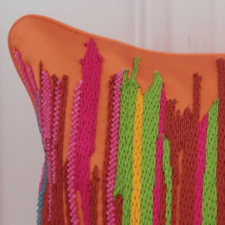 English Handcrafted Multi Colored Hand Embroidered Striped Pillow Orange  For Sale