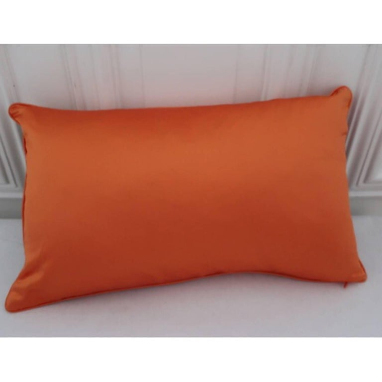 Contemporary Handcrafted Multi Colored Hand Embroidered Striped Pillow Orange  For Sale
