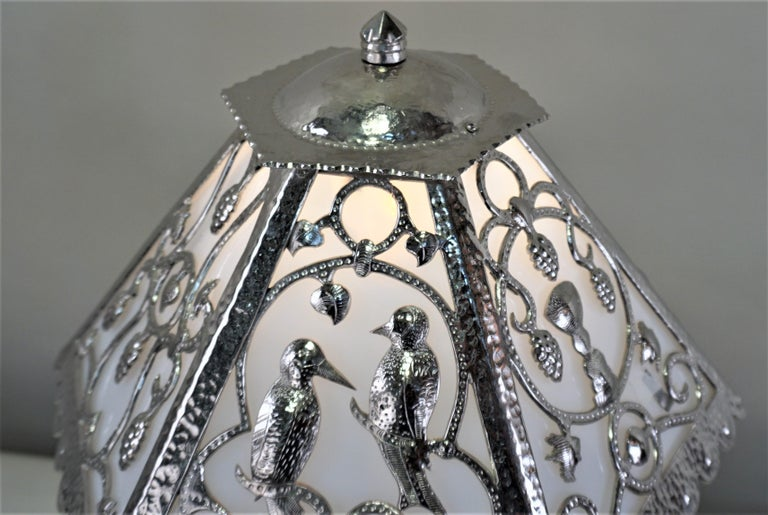 Early 20th Century Handcrafted One of a Kind French Art Deco Nickel, Opaline Glass Table Lamp For Sale