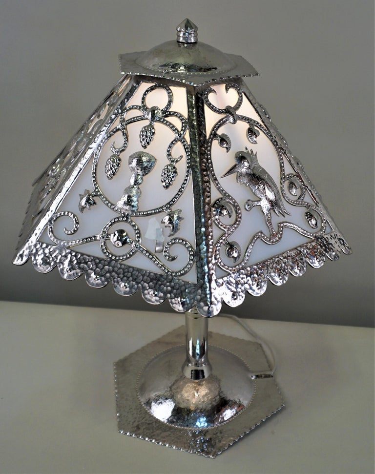 Handcrafted One of a Kind French Art Deco Nickel, Opaline Glass Table Lamp For Sale 1