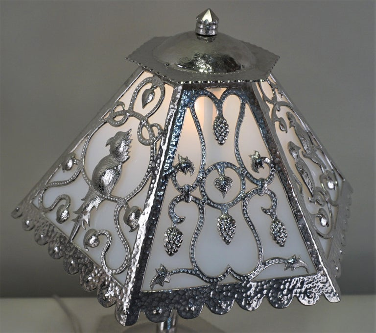 Handcrafted One of a Kind French Art Deco Nickel, Opaline Glass Table Lamp For Sale 2