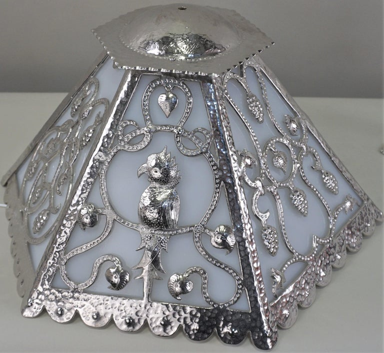 Handcrafted One of a Kind French Art Deco Nickel, Opaline Glass Table Lamp For Sale 5
