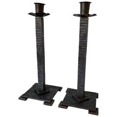 Handcrafted Pair of French Art Deco Wrought Iron Candlesticks / Candleholders