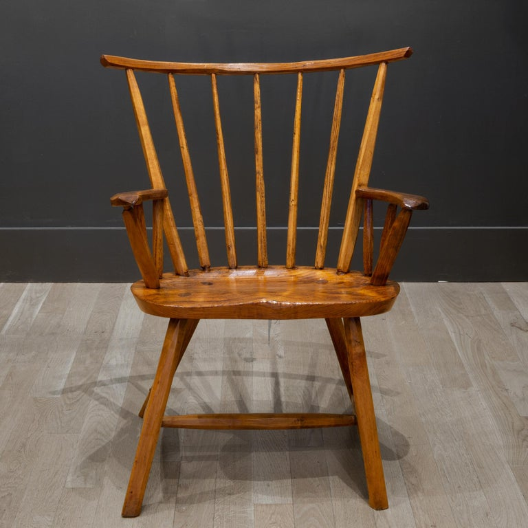 Hickory Handcrafted Primitive Stick Armchairs, circa 1930 For Sale