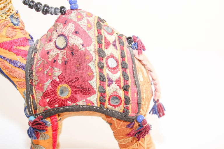 Handcrafted Raj Vintage Stuffed Cotton Embroidered Camel Toy, India, 1950 For Sale 2