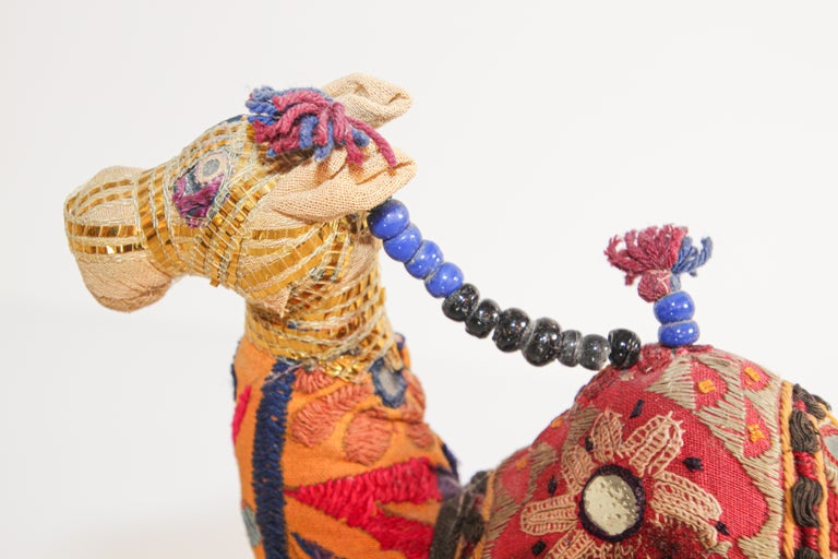 Handcrafted Raj Vintage Stuffed Cotton Embroidered Camel Toy, India, 1950 For Sale 3