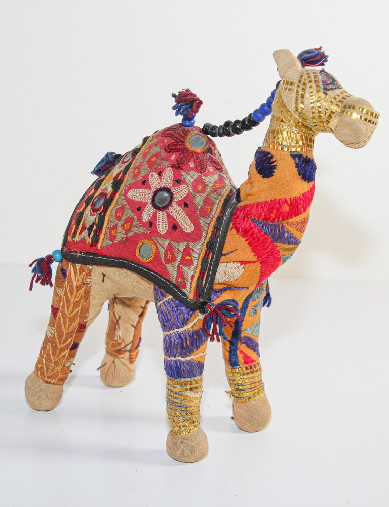 Anglo Raj Handcrafted Raj Vintage Stuffed Cotton Embroidered Camel Toy, India, 1950 For Sale