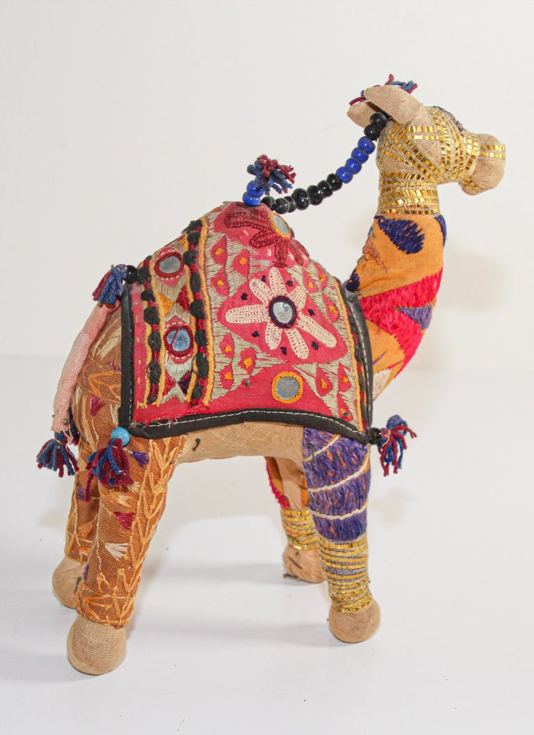 Indian Handcrafted Raj Vintage Stuffed Cotton Embroidered Camel Toy, India, 1950 For Sale