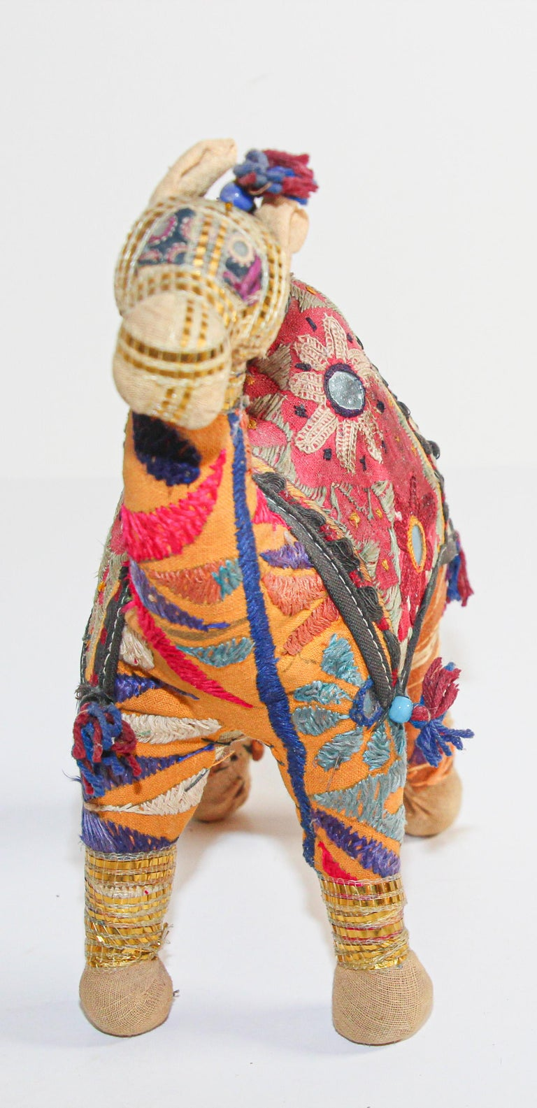 Handcrafted Raj Vintage Stuffed Cotton Embroidered Camel Toy, India, 1950 In Good Condition For Sale In North Hollywood, CA
