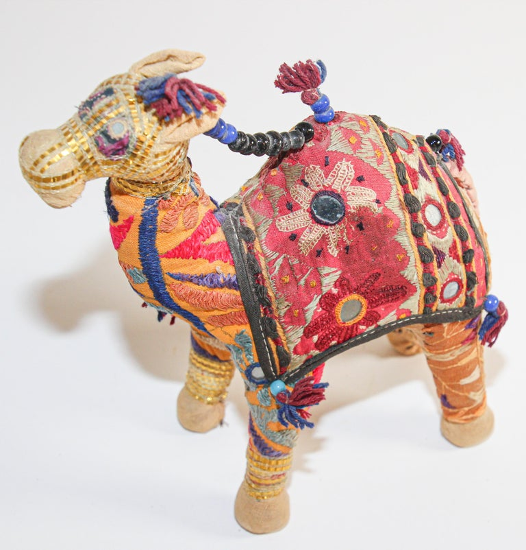 Fabric Handcrafted Raj Vintage Stuffed Cotton Embroidered Camel Toy, India, 1950 For Sale