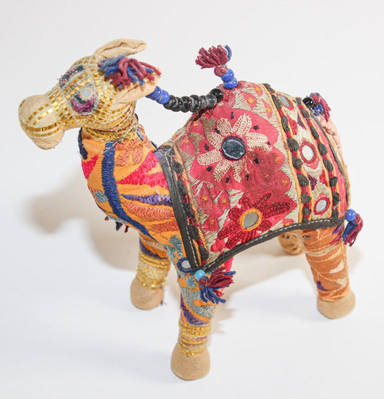 Handcrafted Raj Vintage Stuffed Cotton Embroidered Camel Toy, India, 1950 For Sale 1