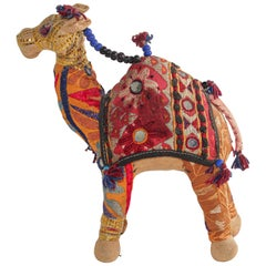 Handcrafted Raj Vintage Stuffed Cotton Embroidered Camel Toy, India, 1950