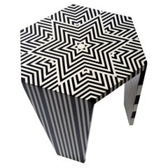 Hand-Crafted Side Table with Black & White Star Pattern Made of Acrylic - Large