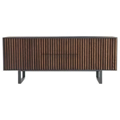 Hand-Crafted Sideboard with Two-Tone Faceted Front Panels in Ebonized Ash
