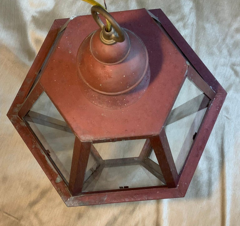 Handcrafted Six Side Hanging Copper Lantern For Sale 5