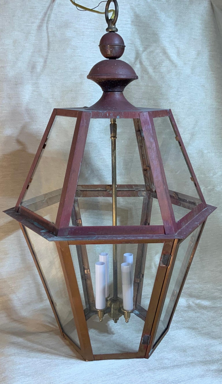 American Handcrafted Six Side Hanging Copper Lantern For Sale