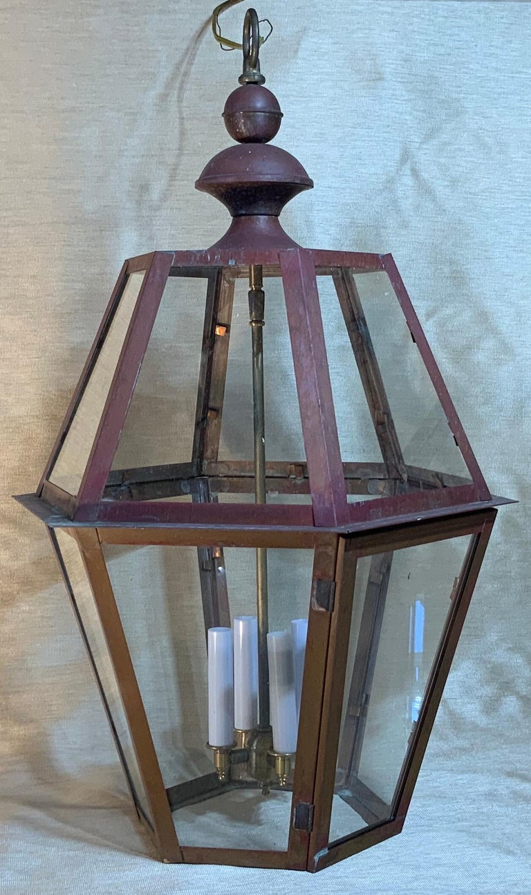 Handcrafted Six Side Hanging Copper Lantern In Good Condition For Sale In Delray Beach, FL