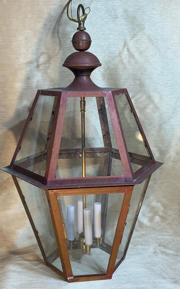 Contemporary Handcrafted Six Side Hanging Copper Lantern For Sale