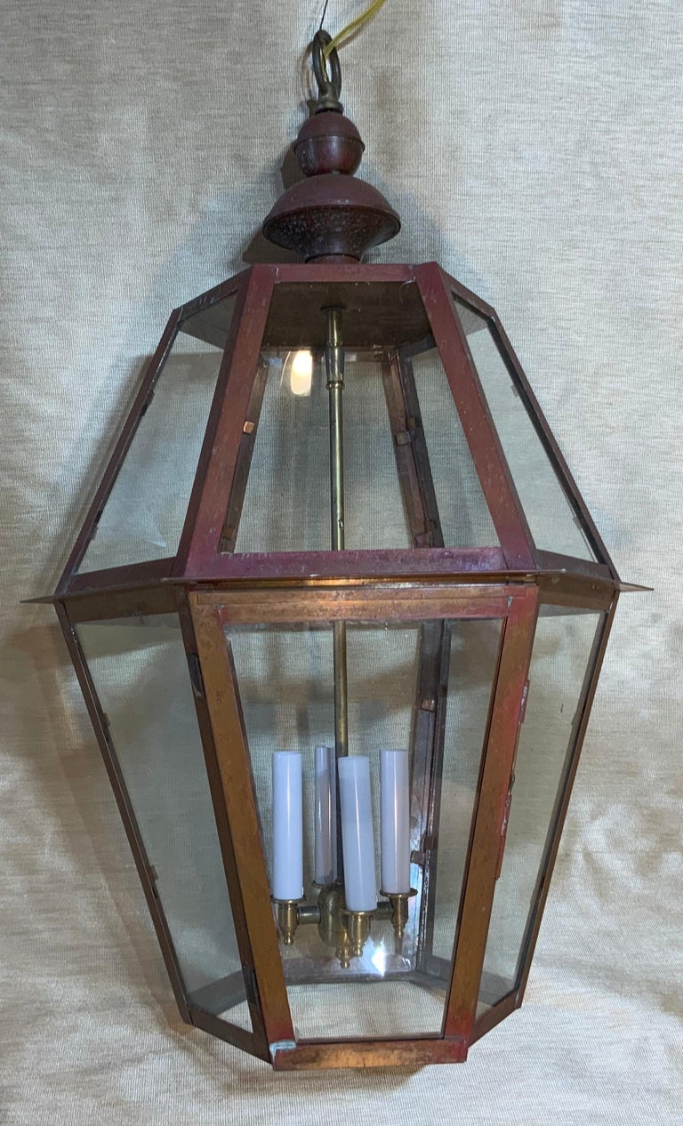 Handcrafted Six Side Hanging Copper Lantern For Sale 2