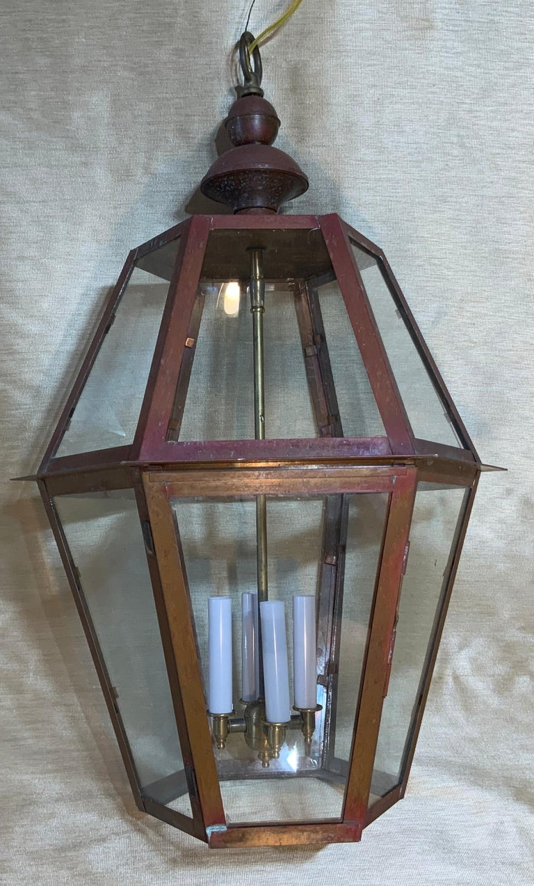 Handcrafted Six Side Hanging Copper Lantern For Sale 3