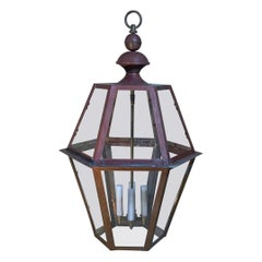 Handcrafted Six Side Hanging Copper Lantern