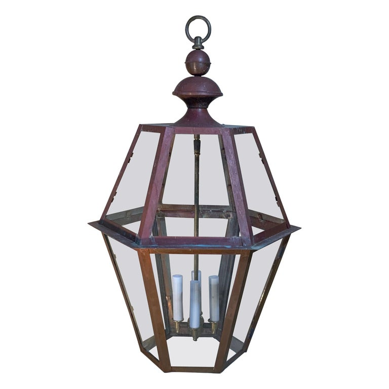 Handcrafted Six Side Hanging Copper Lantern For Sale