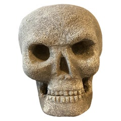 Hand-Crafted Stone Sculpture of a Skull Made in Italy in Early 20th Century