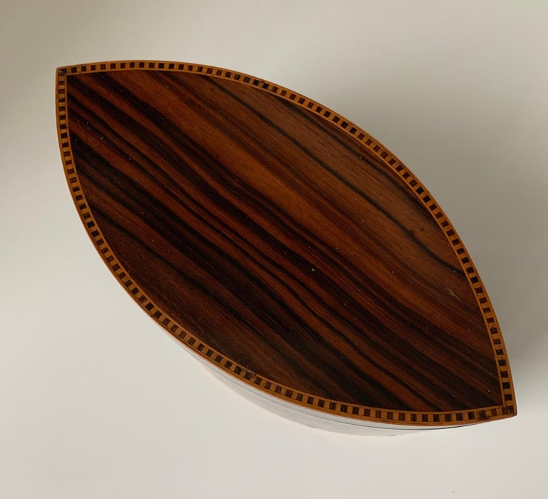 Handcrafted, Top Quality and Stunning Shape Art Deco Mahogany and Macassar Box For Sale 2