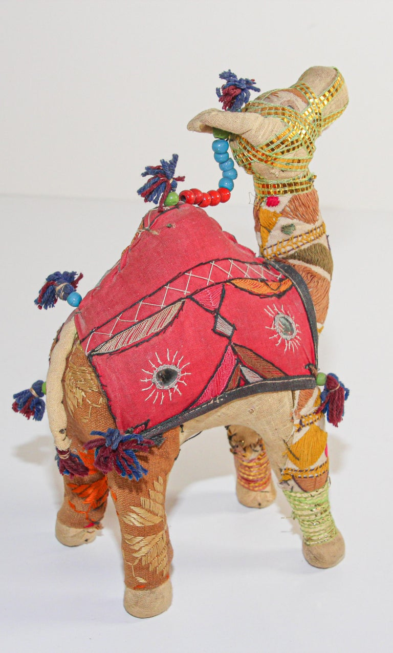 Handcrafted Vintage Stuffed Cotton Embroidered Camel Toy, India, 1950 For Sale 6