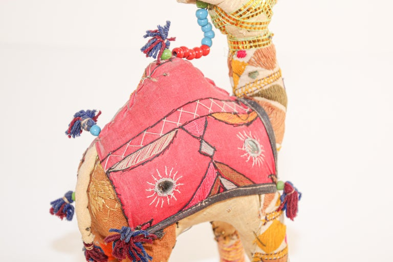 Handcrafted Vintage Stuffed Cotton Embroidered Camel Toy, India, 1950 For Sale 7