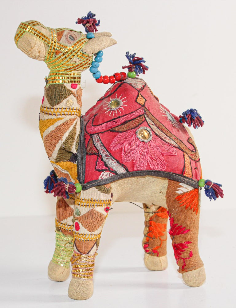 Anglo Raj Handcrafted Vintage Stuffed Cotton Embroidered Camel Toy, India, 1950 For Sale