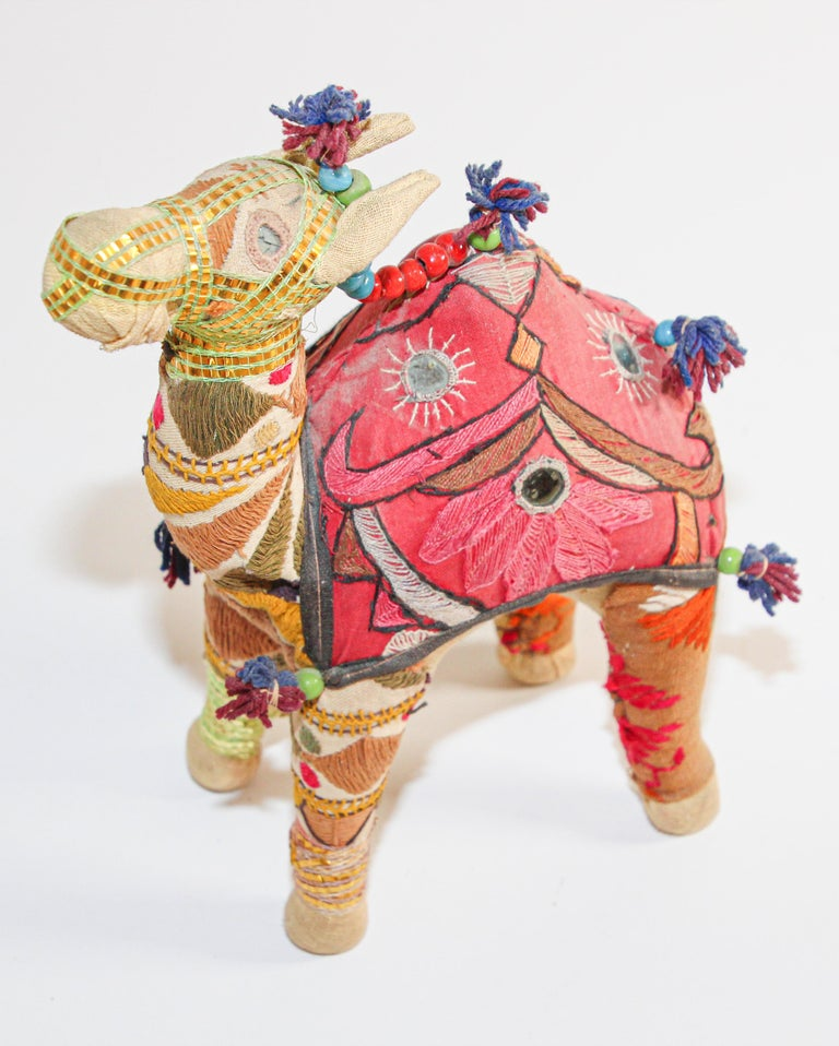 Indian Handcrafted Vintage Stuffed Cotton Embroidered Camel Toy, India, 1950 For Sale