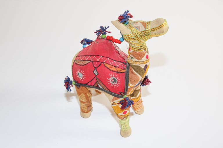 Hand-Crafted Handcrafted Vintage Stuffed Cotton Embroidered Camel Toy, India, 1950 For Sale